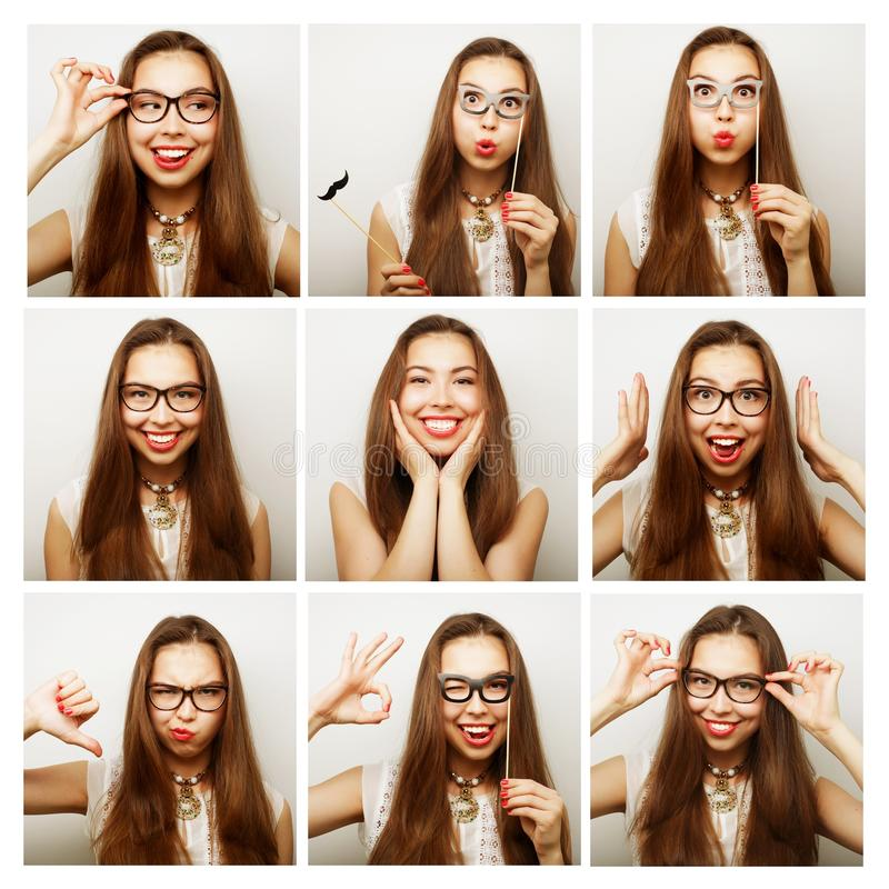 Collage of woman different facial expressions. Ready for party stock photos