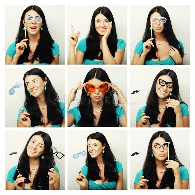 Collage of woman different facial expressions. Ready for party royalty free stock photos