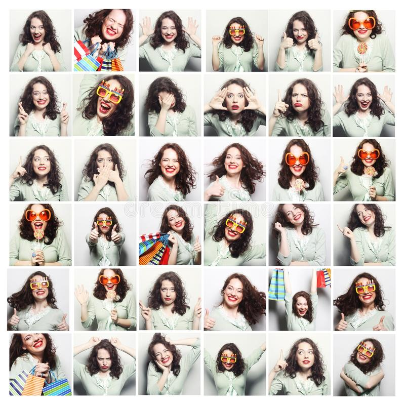 Collage of woman different facial expressions royalty free stock photography