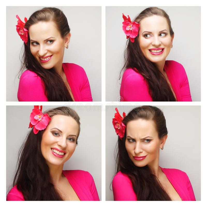 Collage of woman different facial expressions. Studio shot royalty free stock photos
