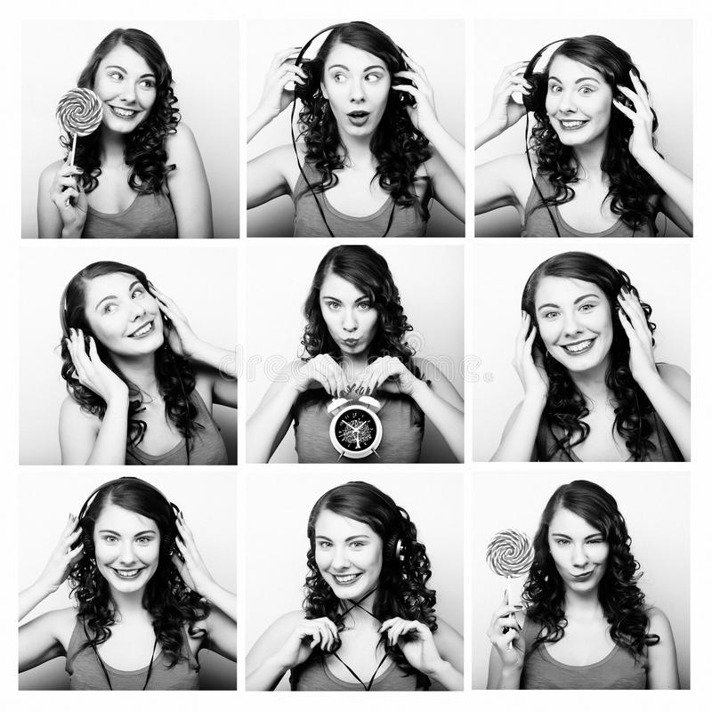 Collage of woman different facial expressions. Studio shot stock photography