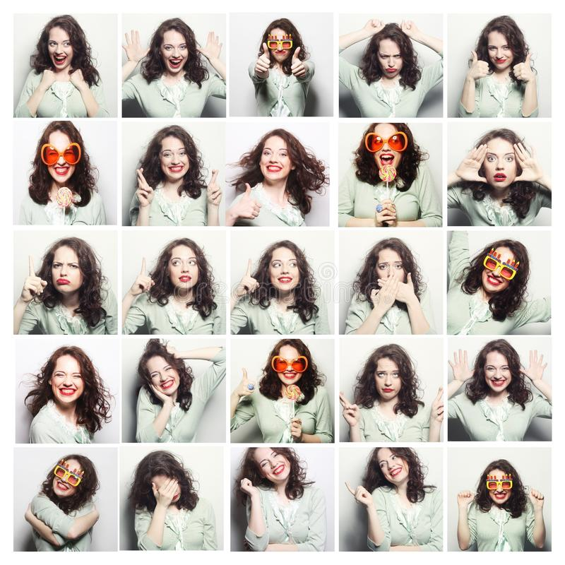 Collage of woman different facial expressions. Studio shot stock photos