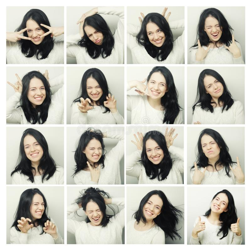 Collage of woman different facial expressions royalty free stock images