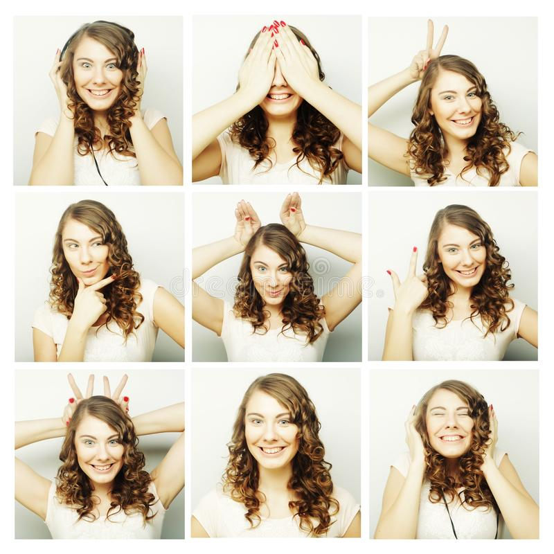 Collage of woman different facial expressions. Studio shot royalty free stock photography