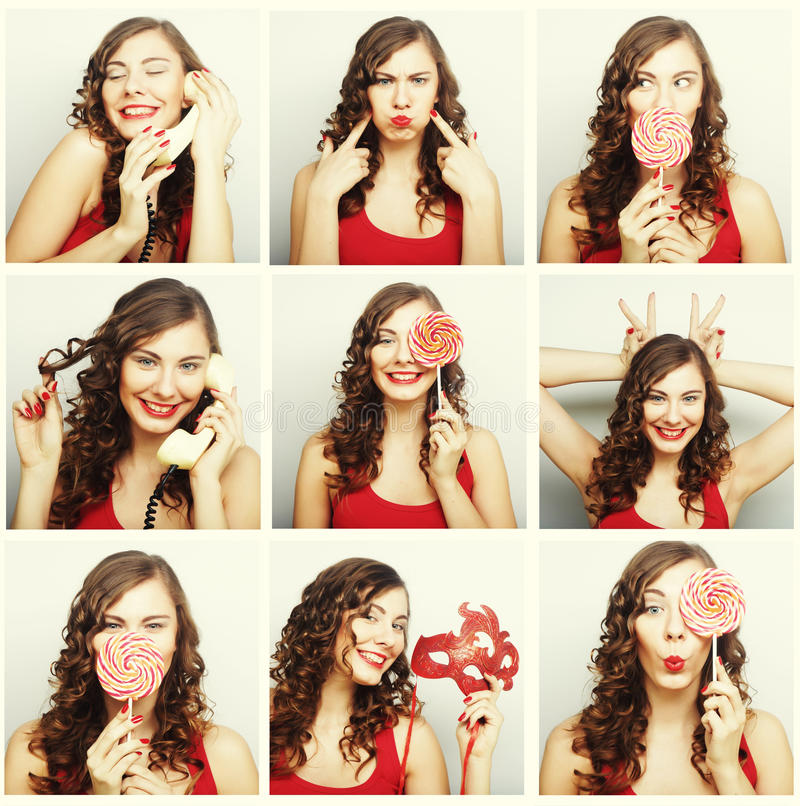 Collage of woman different facial expressions. Studio shot stock photo