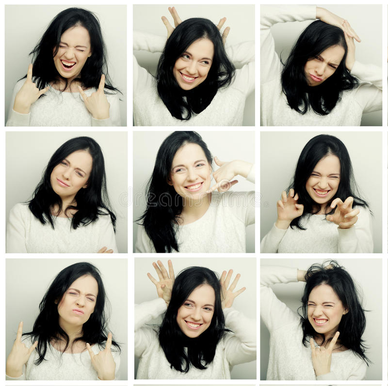 Collage of woman different facial expressions. Studio shot royalty free stock photo