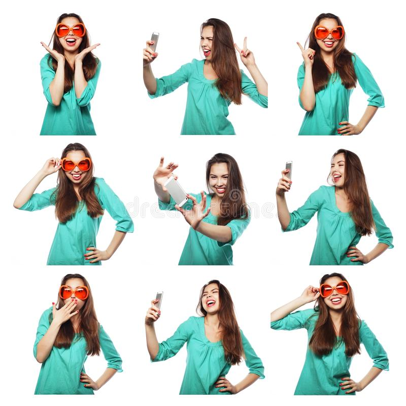 Collage of woman different facial expressions. Studio shot royalty free stock images