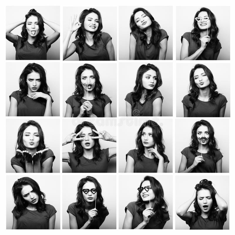 Collage of woman different facial expressions.Studio shot. Collage of woman different facial expressions. Black and white picture royalty free stock photos