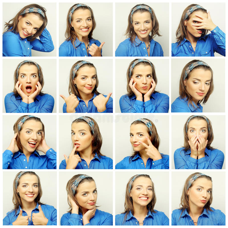 Collage of woman face expressions composite stock image