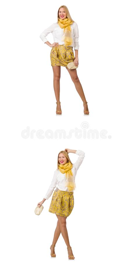 Collage of woman in fashion look isolated on white royalty free stock images