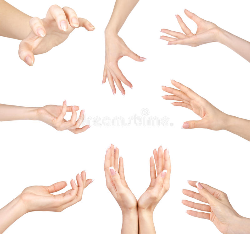 Collage of woman Hands gestures set, on white royalty free stock images