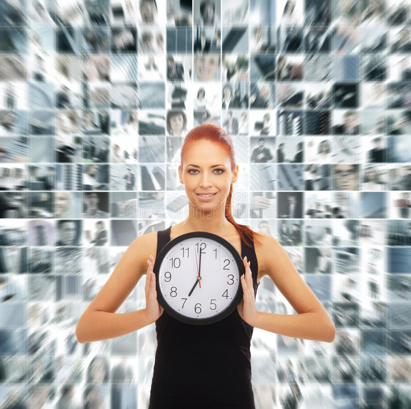 A collage of a woman holding a clock on a business background royalty free stock photo