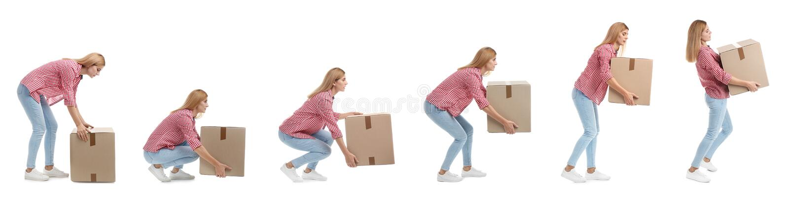 Collage of woman lifting heavy cardboard box on white background. Posture concept stock photography
