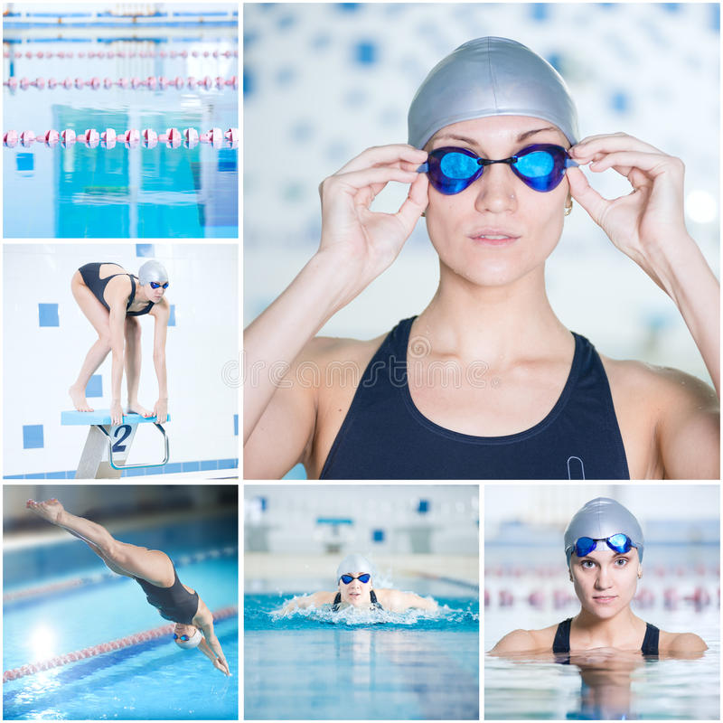 Collage of woman swimming in the indoor pool stock images