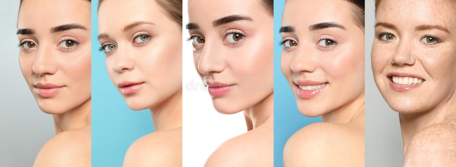 Collage of women with beautiful faces royalty free stock photo