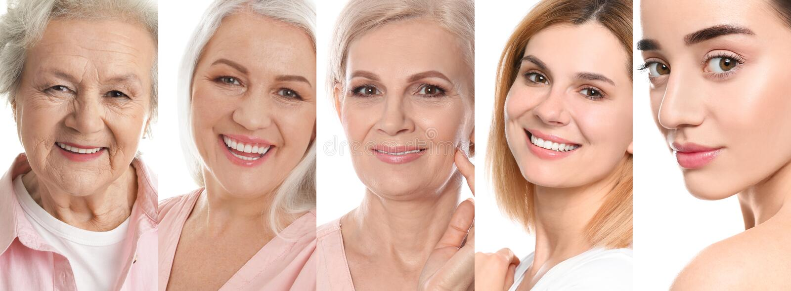 Collage of women with beautiful faces stock images