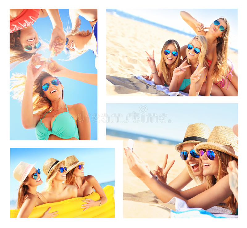A collage of women having fun on the beach. A collage of pictures of women having fun on the beach royalty free stock images