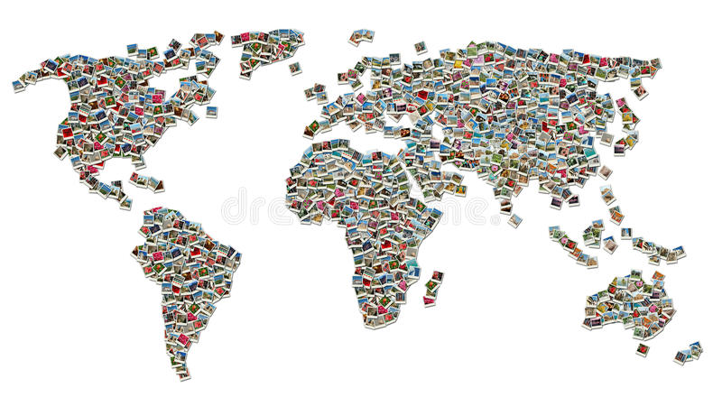 Collage of World Map made of travel photos royalty free stock images