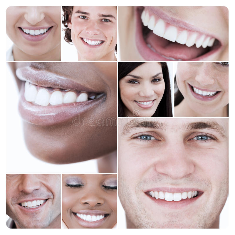 Collage of young attractive people stock photo