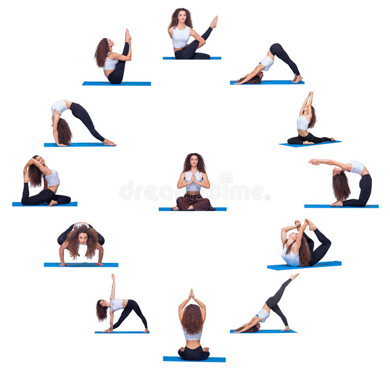 Collage of young beautiful fitness girl doing yoga. Exercise isolated on white royalty free stock photos