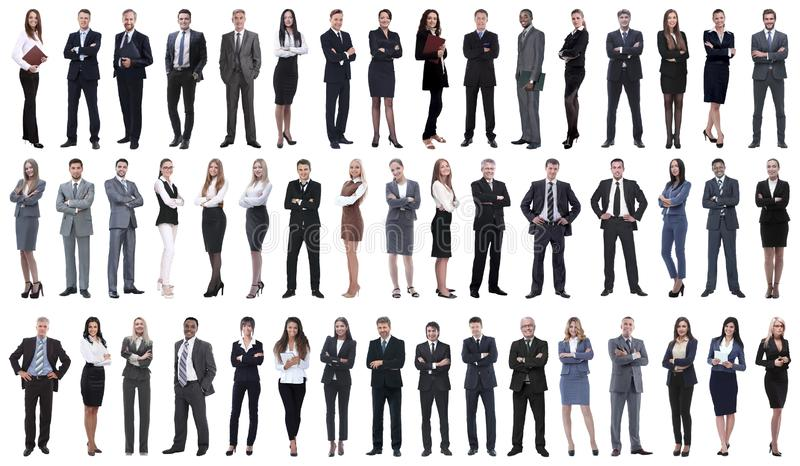 Collage of young business people standing in a row. stock images