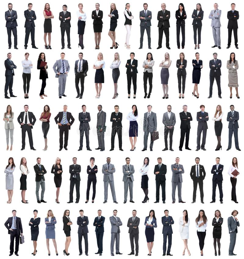 Collage of young business people standing in a row. Isolated on white background stock photography