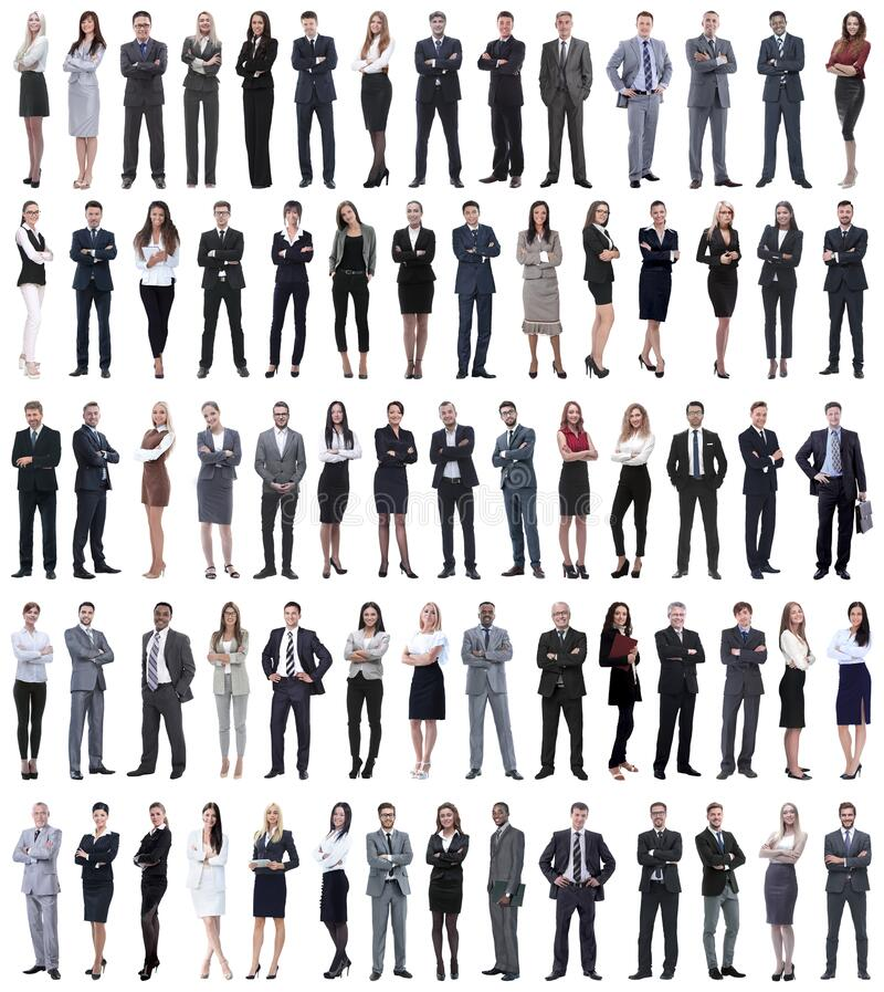 Collage of young business people standing in a row. Isolated on white background royalty free stock image