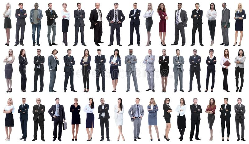 Collage of young business people standing in a row. Isolated on white background royalty free stock photography