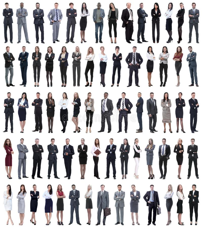 Collage of young business people standing in a row. Isolated on white background stock photo
