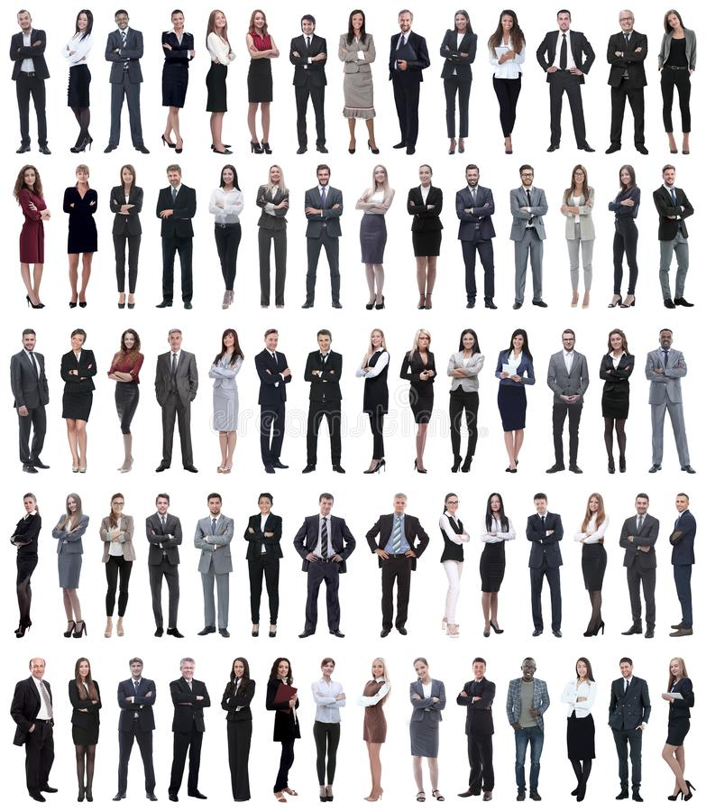 Collage of young business people standing in a row. Isolated on white background royalty free stock photo