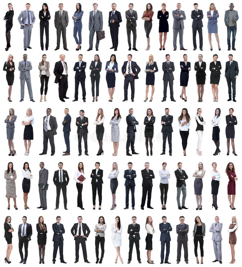 Collage of young business people standing in a row. royalty free stock images
