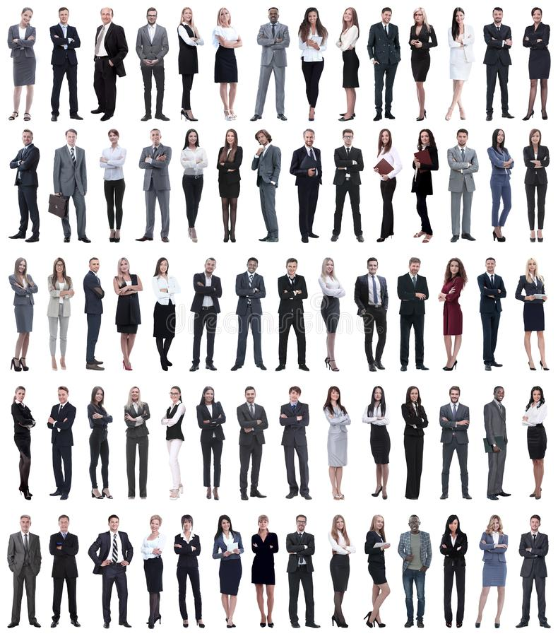 Collage of young business people standing in a row. stock photography