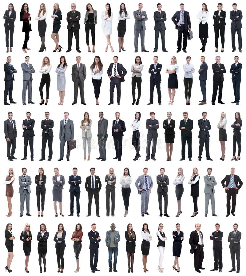 Collage of young business people standing in a row. royalty free stock image