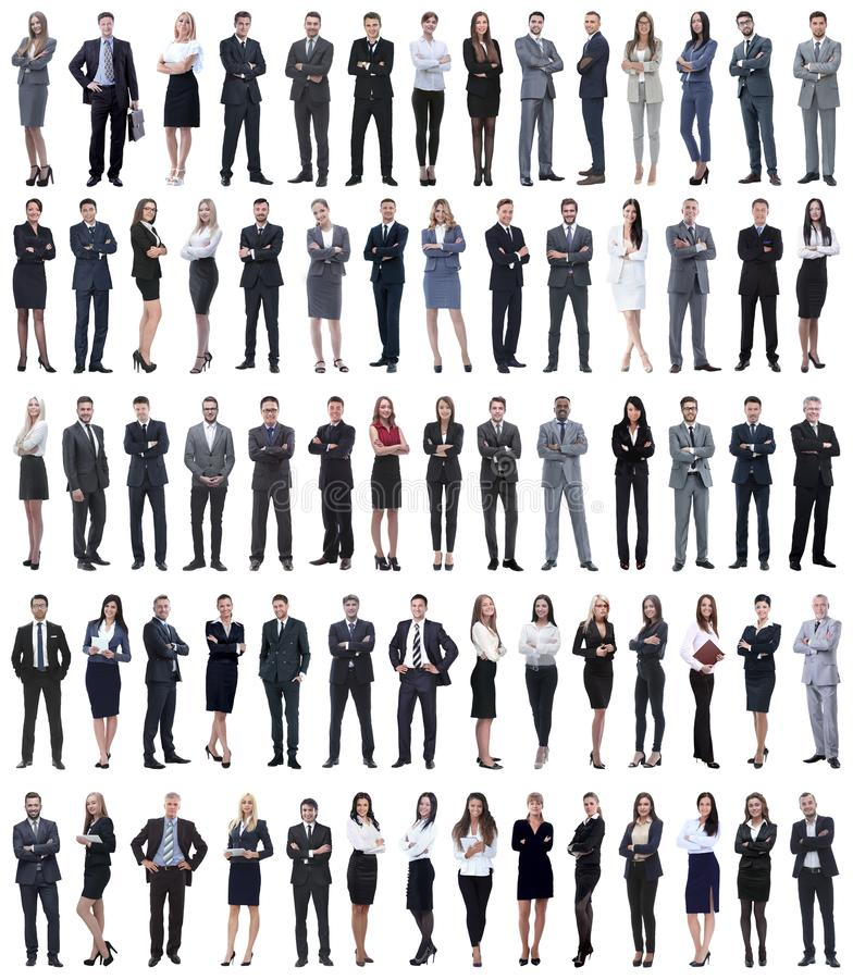 Collage of young business people standing in a row. Isolated on white background stock image