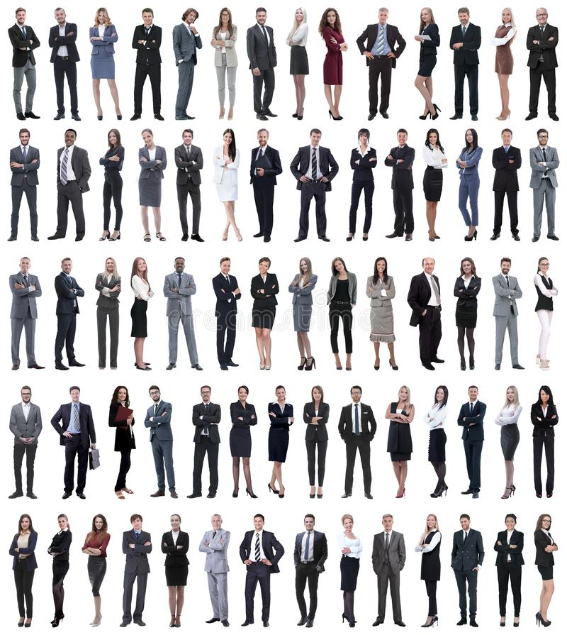 Collage of young business people standing in a row. Isolated on white background royalty free stock photos