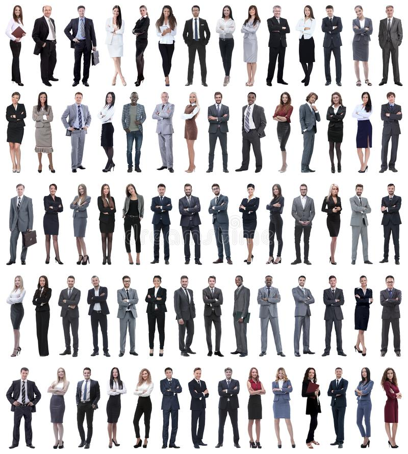 Collage of young business people standing in a row. royalty free stock photography