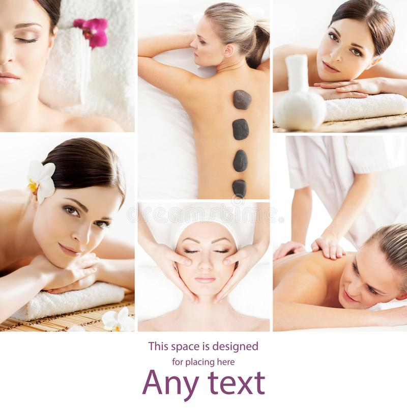Collage with young and healthy girls relaxing in spa salon. Girl getting traditional oriental aroma therapy and royalty free stock photo