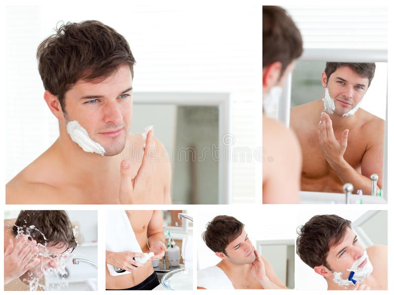 Collage of a young man shaving royalty free stock photography