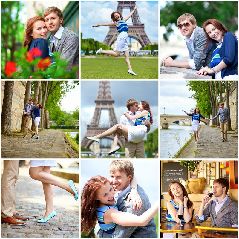Collage with young romantic couple having a date stock photography