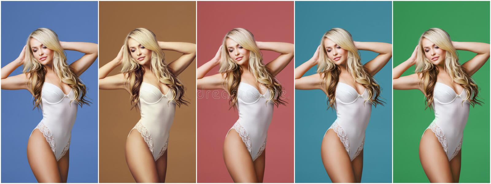 Collage of a young, sporty and fit woman in white underwear over different colorful background. Fashion and beauty stock photos