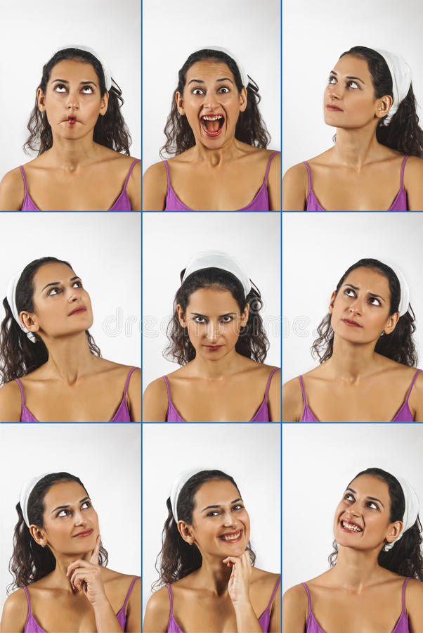 Collage of young woman face expressions stock image