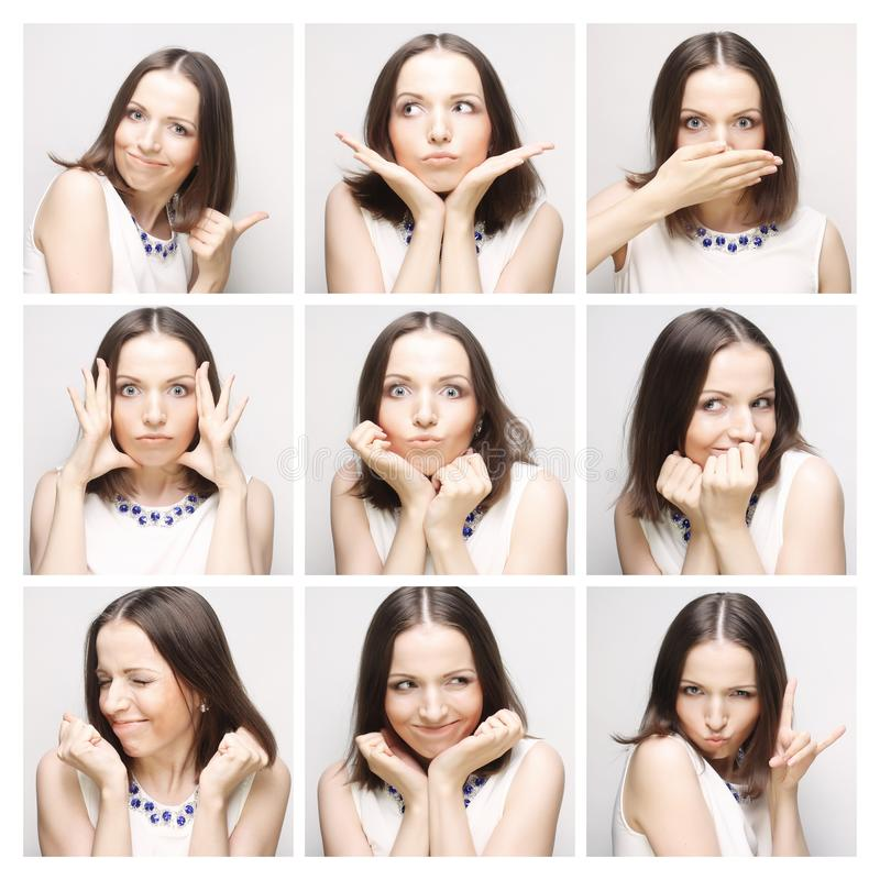 Collage of woman face expressions composite stock photos
