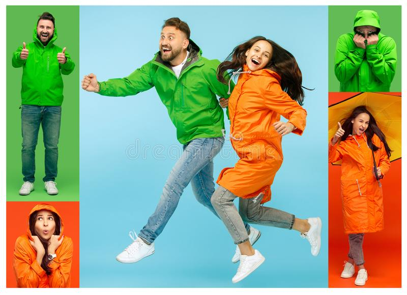 Collage about young woman and handsome bearded young man on vivid trendy colors at studio. Collage about young women and handsome bearded freezing young men stock photography