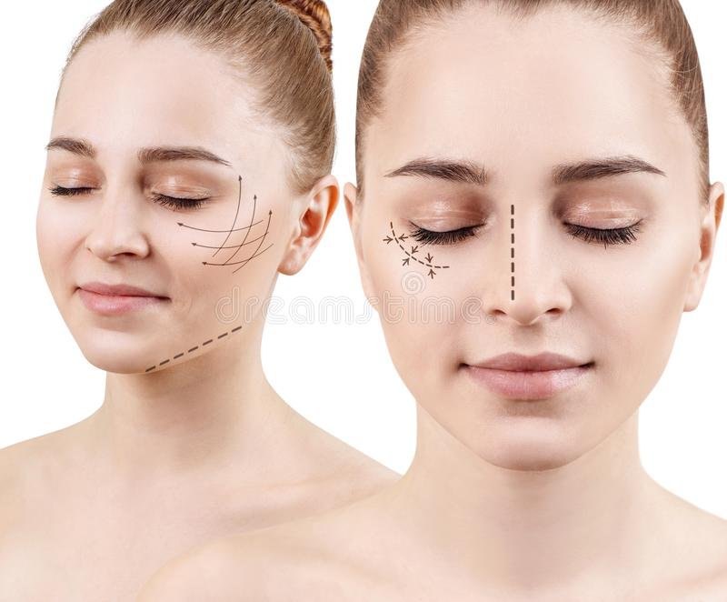 Collage of young woman with lifting arrows on face. stock images