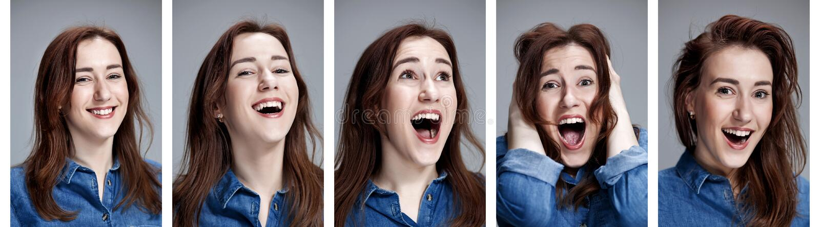 Set of young woman`s portraits with different happy emotions royalty free stock image