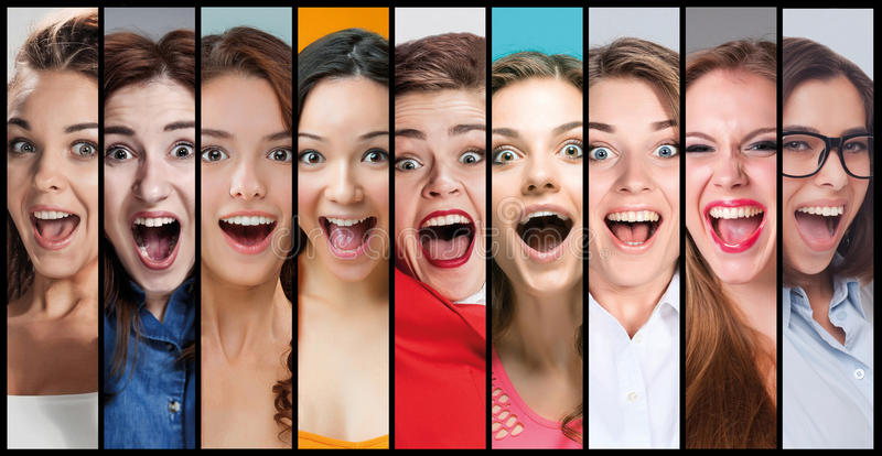 The collage of young woman smiling face expressions stock photo