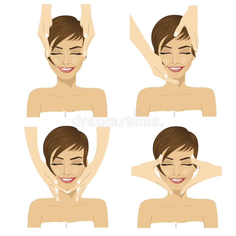 Collage of young woman in spa salon getting facial massage. On white background stock illustration