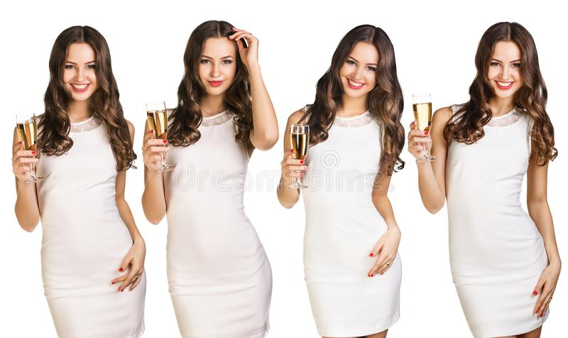 Collage of young woman in white dress holds champagne glass. stock photo
