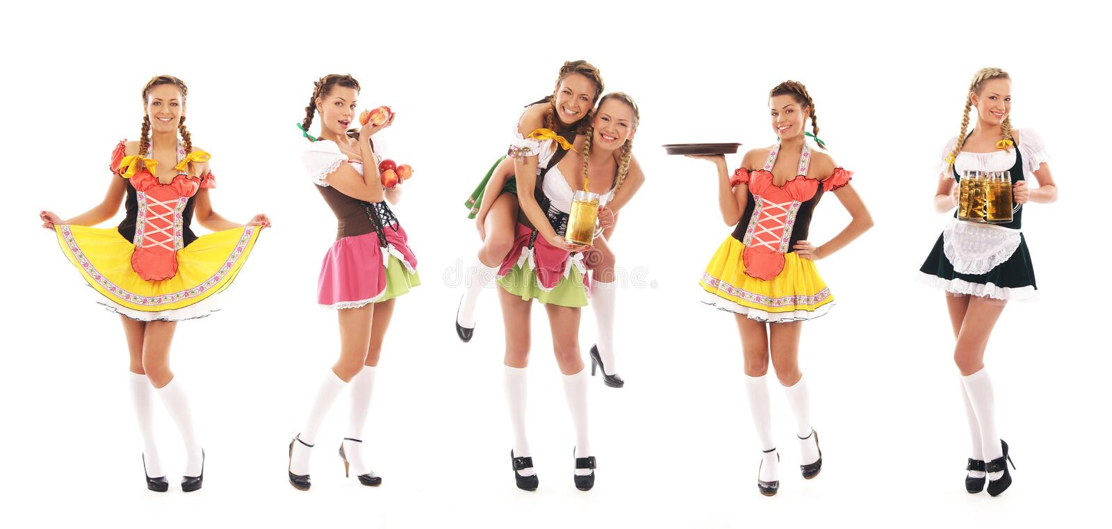A collage of young women in Bavarian clothes stock image