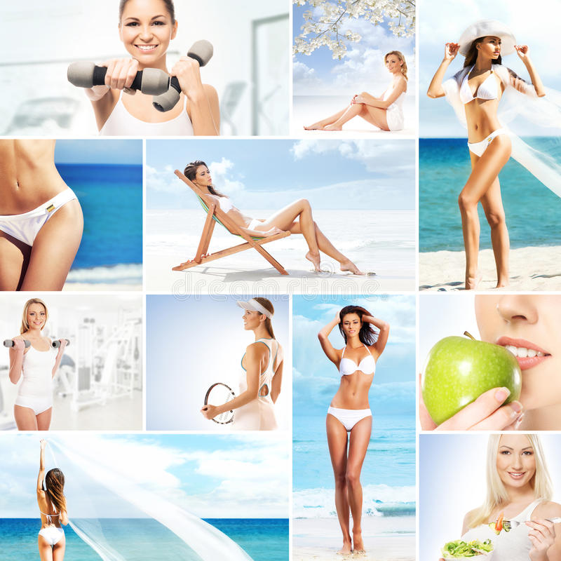Collage of young women relaxing and working out. Collage about dieting, healthy eating, fitness, sport, nutrition and health care royalty free stock images